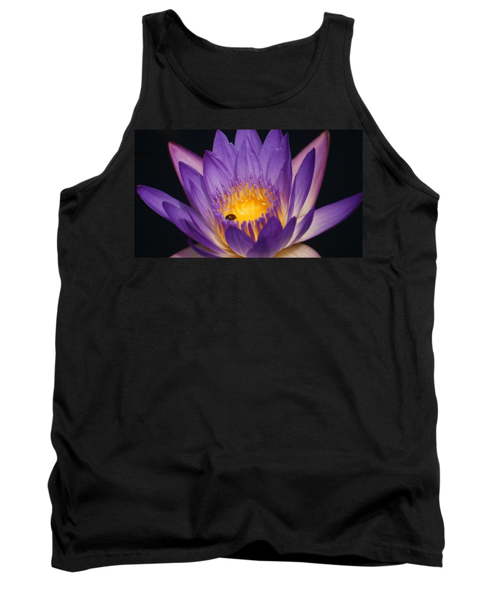Purple Tank Top featuring the photograph Purple And Bright Yellow Center Waterlily... by Rob Luzier