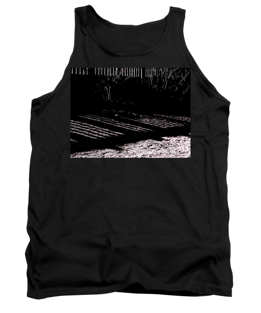 Railing Shadow Tank Top featuring the photograph Railing Shadow by Expressionistart studio Priscilla Batzell