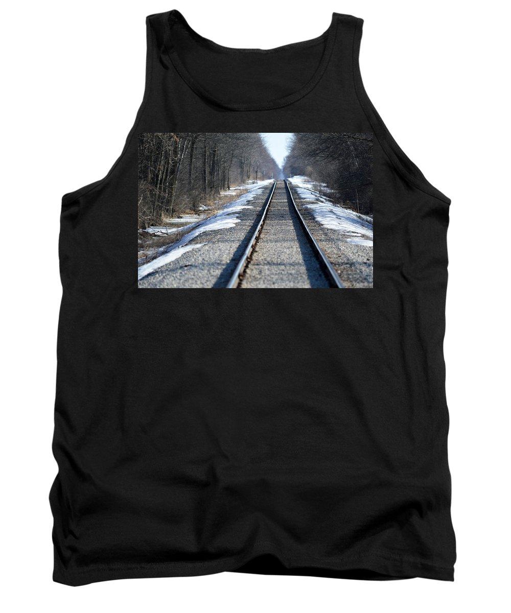 Railroad Tracks Tank Top featuring the photograph Rails by Linda Kerkau