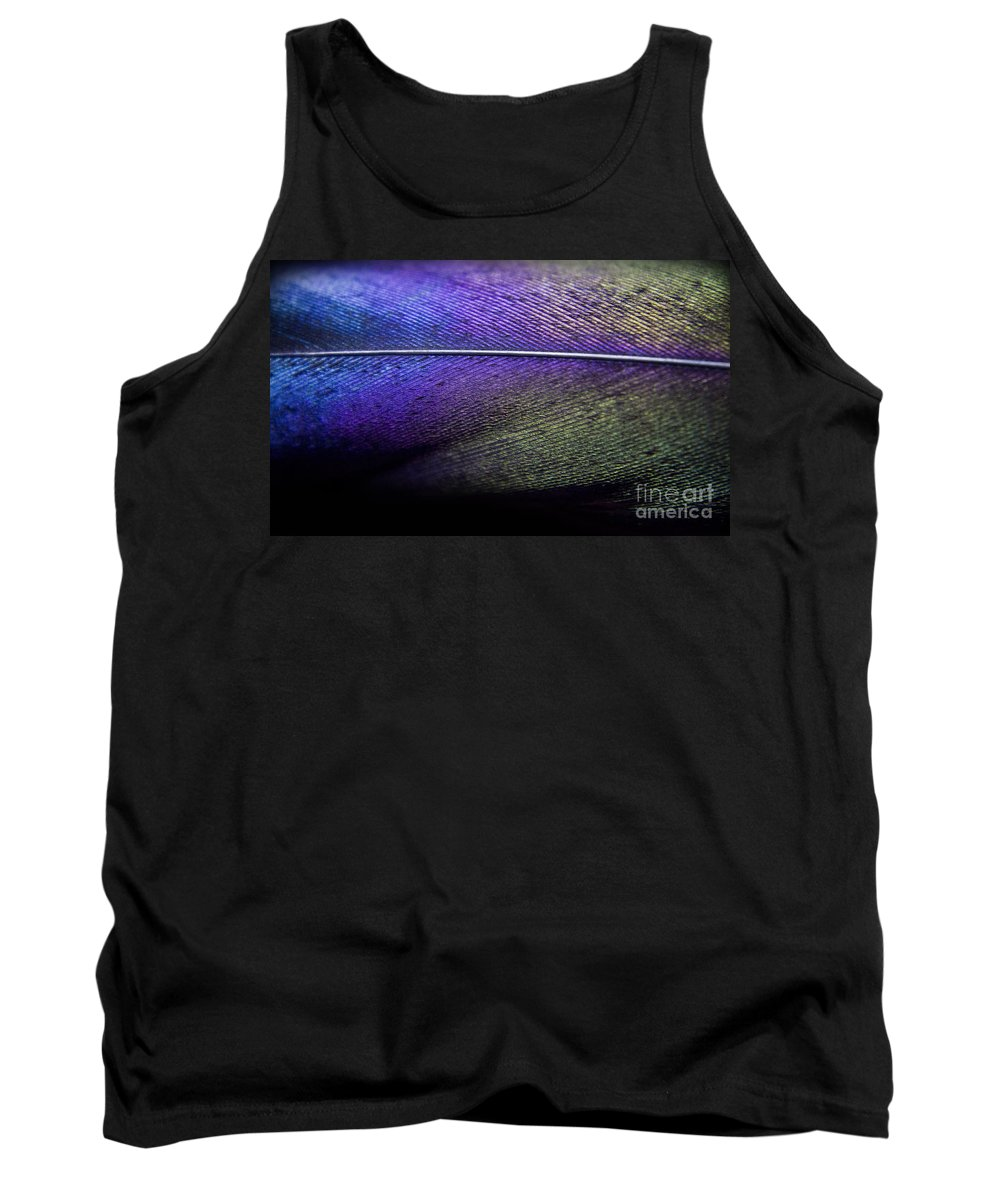 Feather Tank Top featuring the photograph Rainbow Feather by Andrea Goodrich