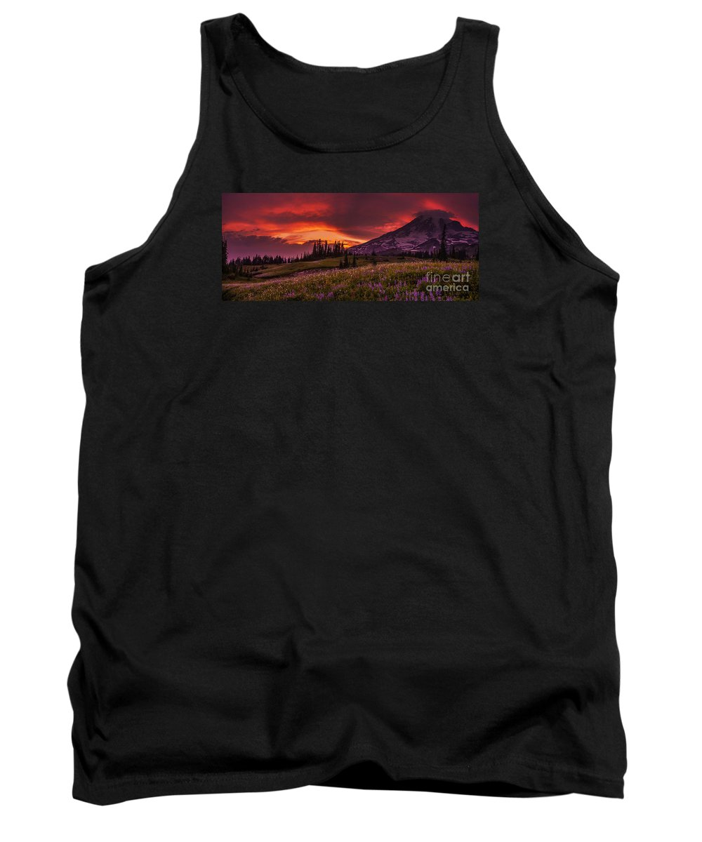 Rainier Tank Top featuring the photograph Rainier Fire Mountain Panorama by Mike Reid