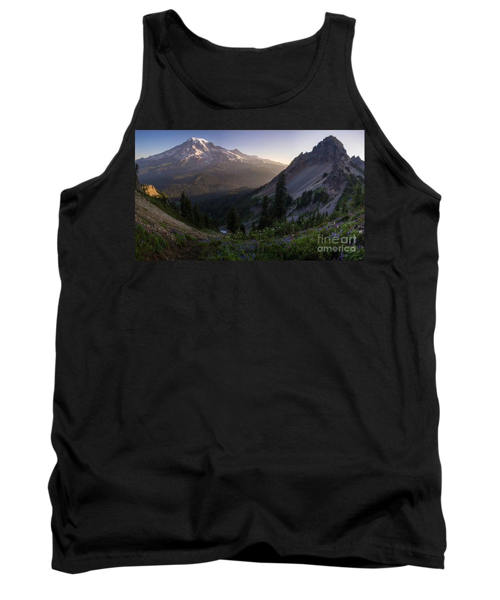 Rainier Tank Top featuring the photograph Rainier In The Saddle by Mike Reid