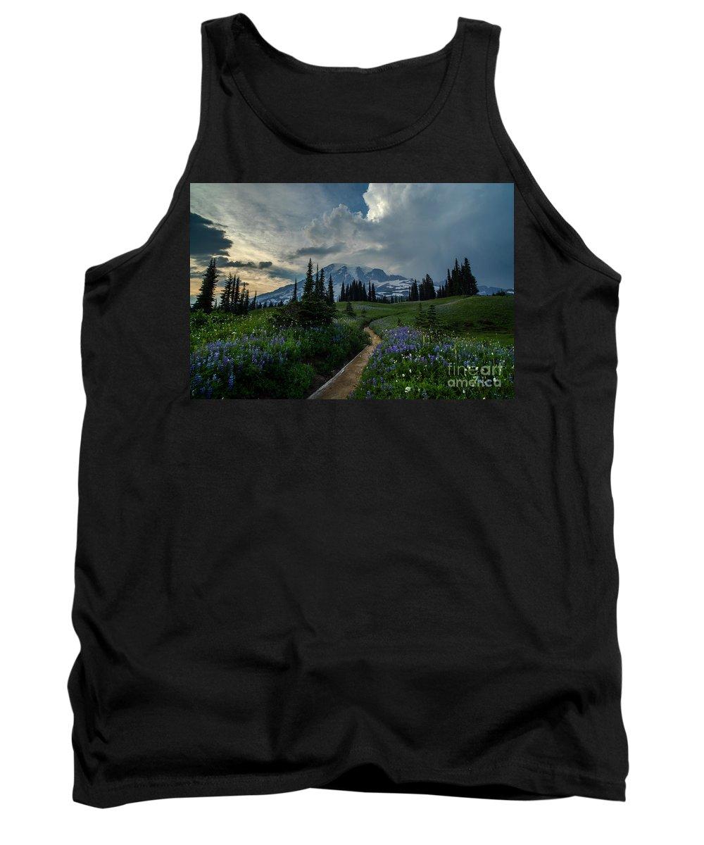 Rainier Tank Top featuring the photograph Rainier Meadows Thunder Skies by Mike Reid