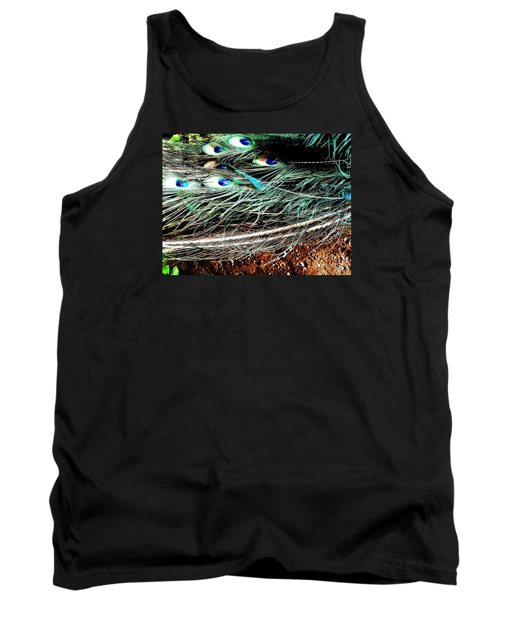 Peacock Tank Top featuring the photograph Realpeack by Vanessa Palomino