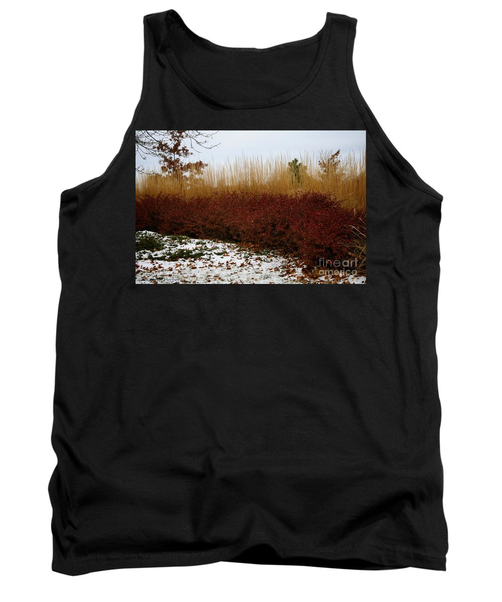 Outdoors Tank Top featuring the photograph Red Gold Hedge by Susan Herber