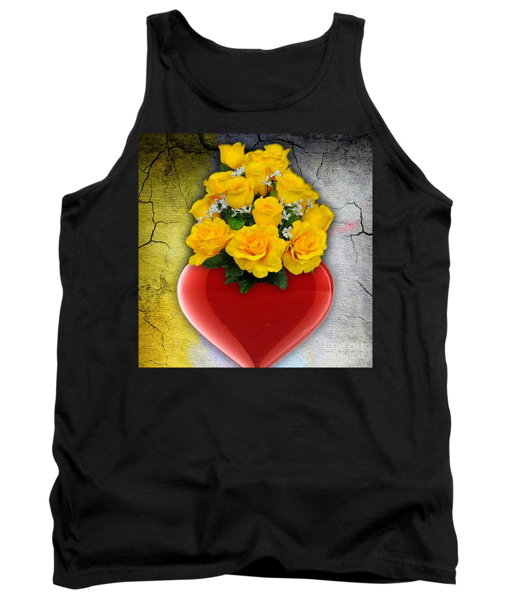 Heart Tank Top featuring the mixed media Red Heart Vase With Yellow Roses by Marvin Blaine