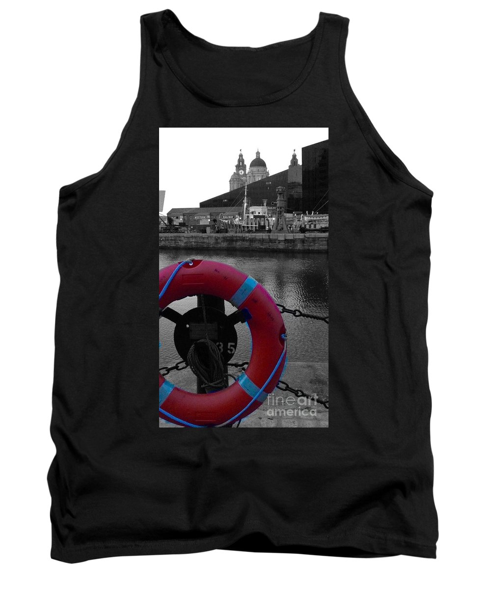 Red Colour Splash Tank Top featuring the photograph Red Lifebelt At Albert Dock 2 by Joan-Violet Stretch