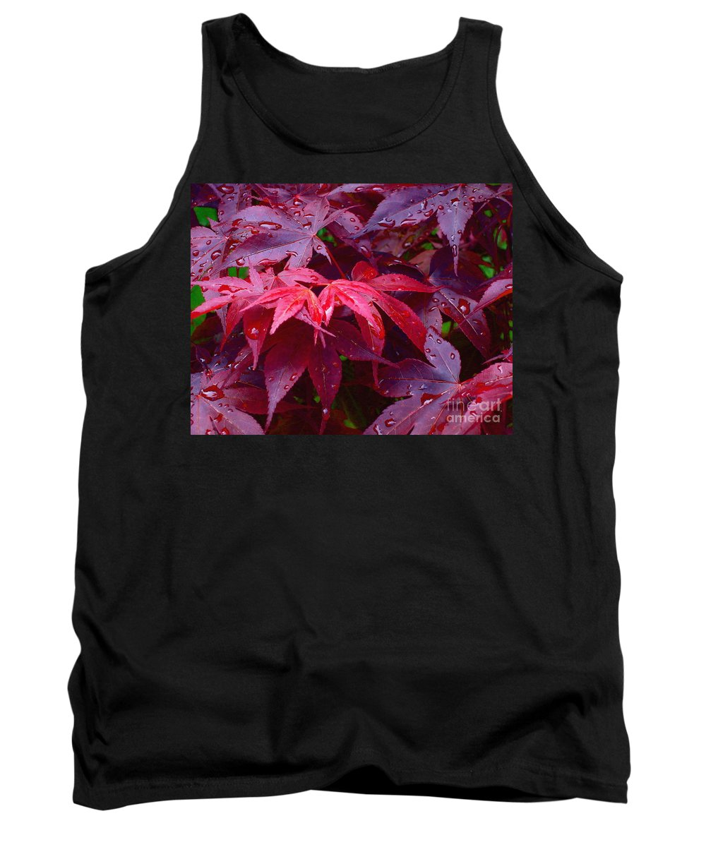 Rain Tank Top featuring the photograph Red Maple After Rain by Ann Horn