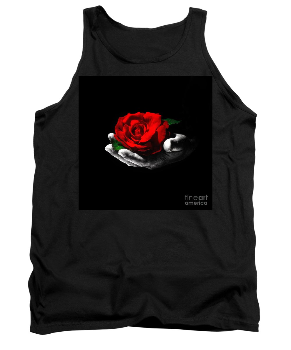 Hand Tank Top featuring the photograph Red Rose by ARTSHOT - Photographic Art