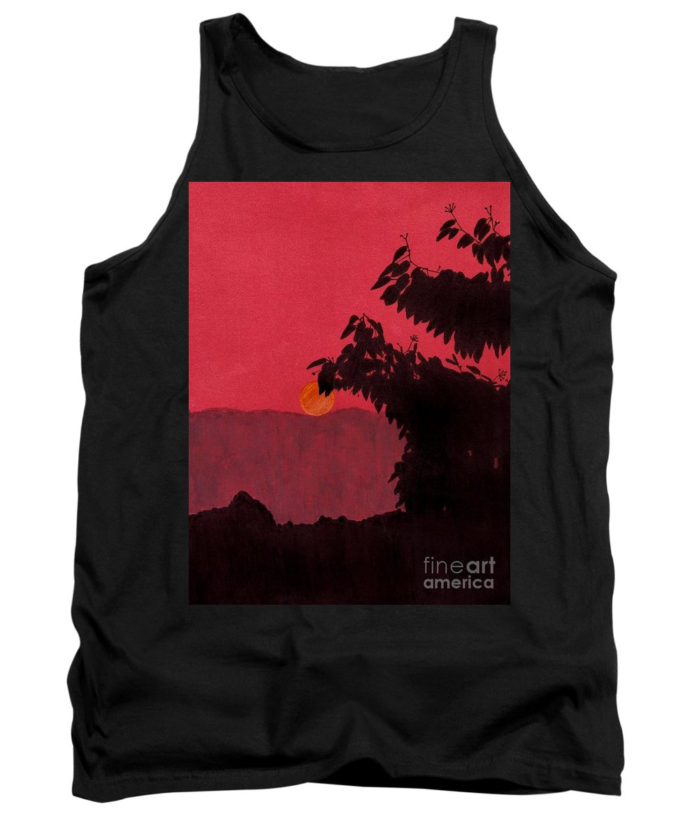 Sunset Tank Top featuring the drawing Red - Sunset by D Hackett