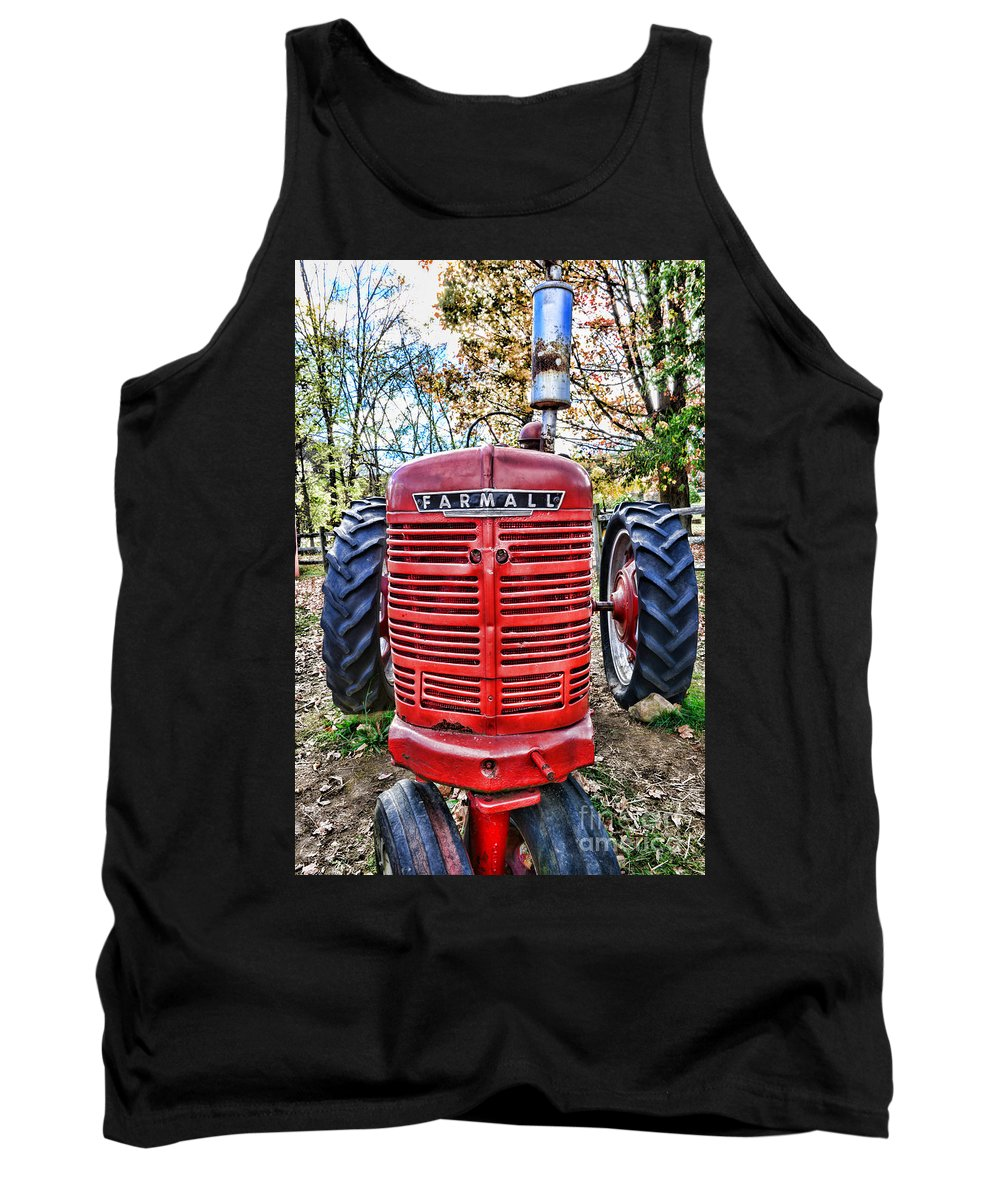 Paul Ward Tank Top featuring the photograph Red Tractor by Paul Ward