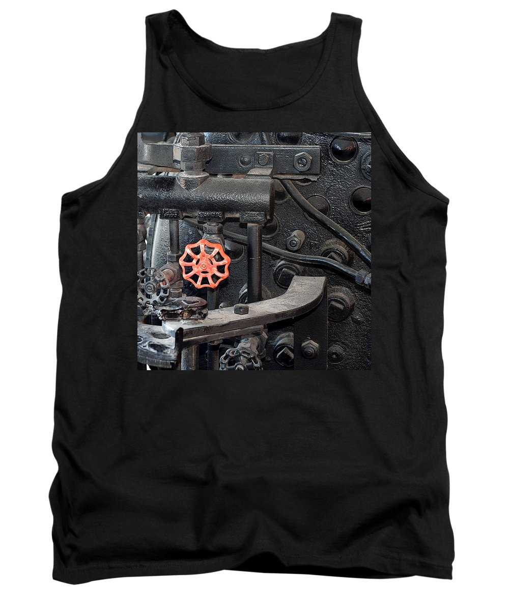Railroad Tank Top featuring the photograph Red Valve S P R R 1673 by Joe Kozlowski