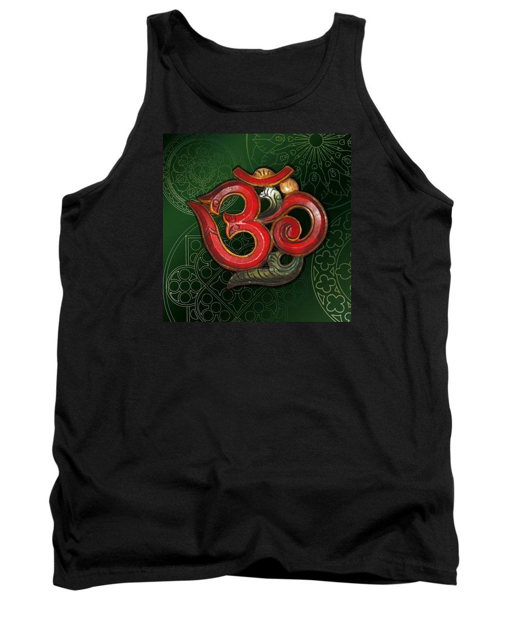 Om Framed Prints Tank Top featuring the digital art Red Wooden Om Green Mandala by ReadyForYoga Online-Shop