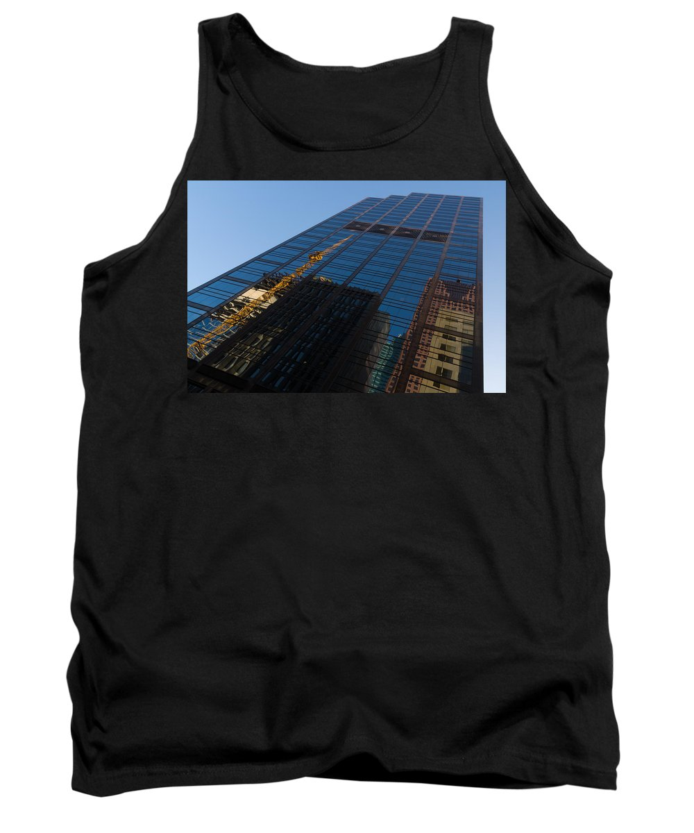 Skyscraper Tank Top featuring the photograph Reflecting On Skyscrapers - Downtown Atmosphere by Georgia Mizuleva