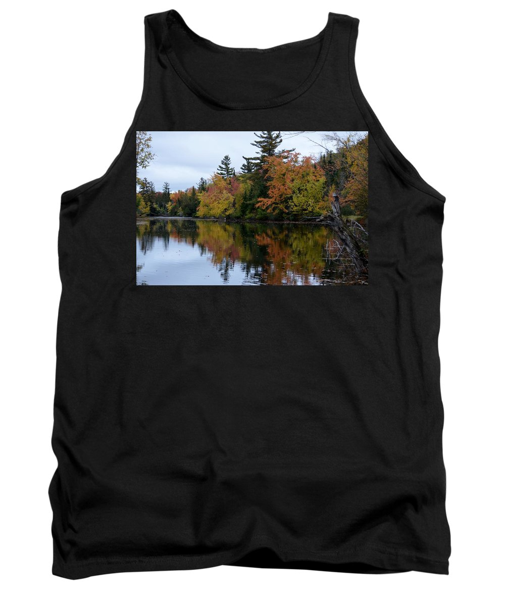 Fall Tank Top featuring the photograph Reflection On The Raquette River by Thomas Phillips