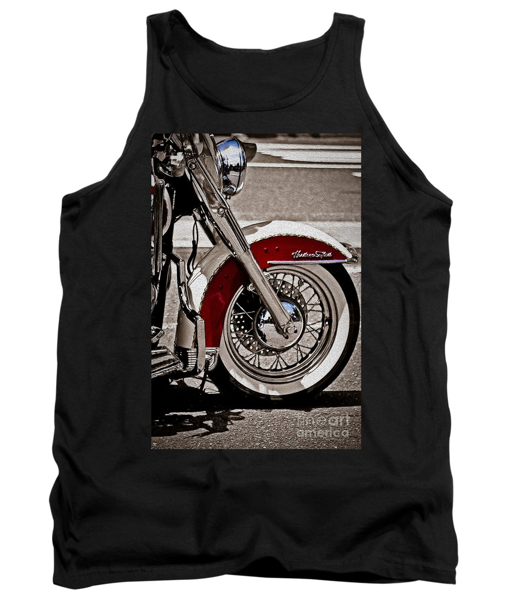 Vintage Tank Top featuring the photograph Reflections On A Motorcycle by Tom Gari Gallery-Three-Photography