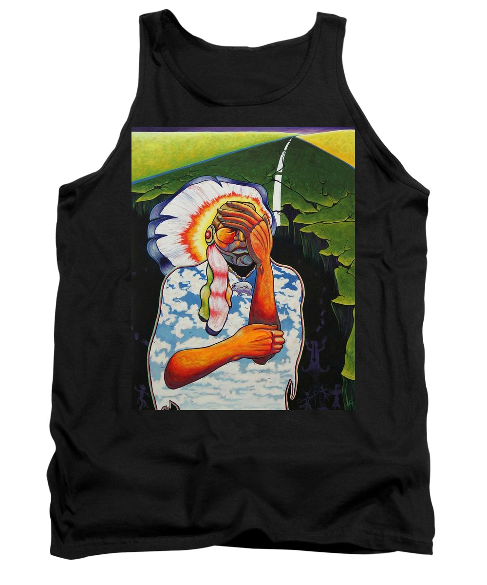American Indian Tank Top featuring the painting Release Me by Joe Triano