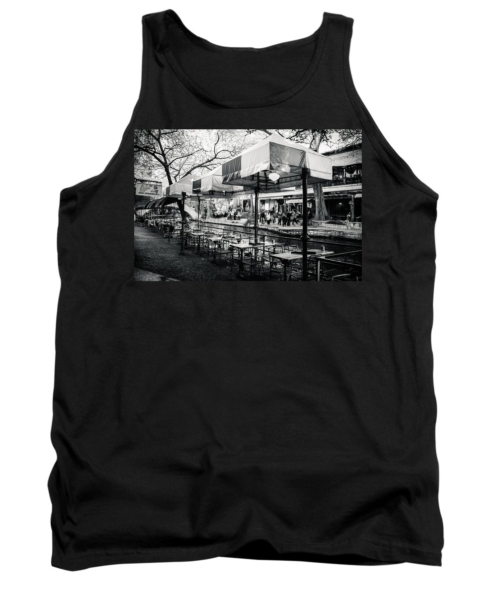 Downtown Tank Top featuring the photograph River Walk Tables by Melinda Ledsome