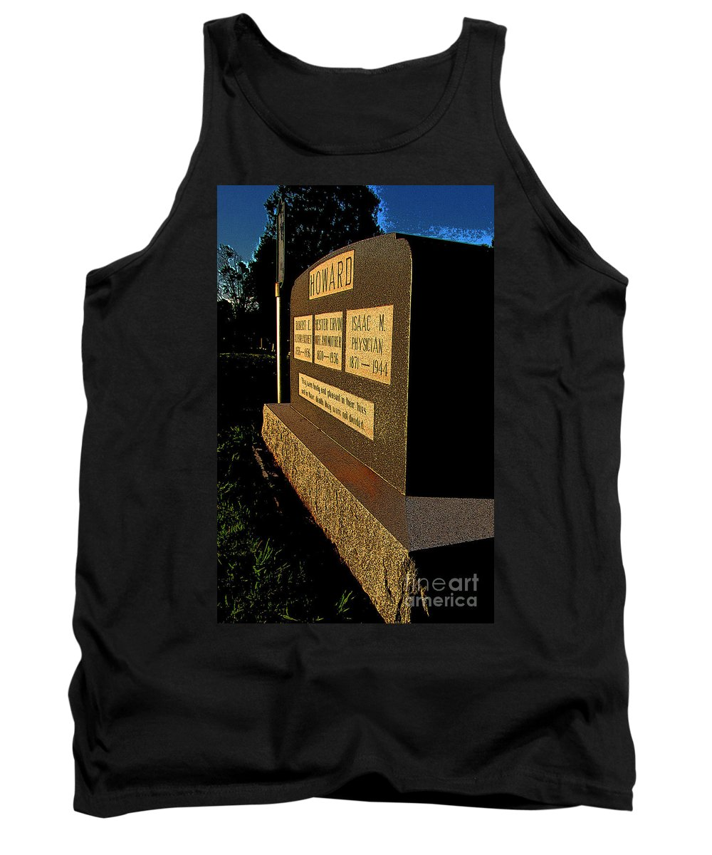 Robert E Howard Tank Top featuring the photograph Robert E Howard's Gravestone by Ron Tackett