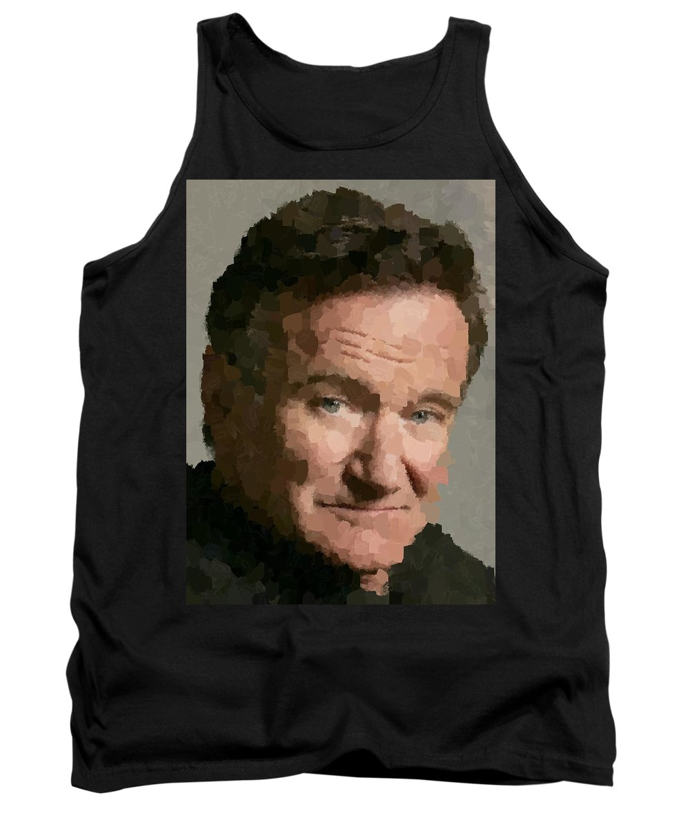 Robin Tank Top featuring the painting Robin Williams Portait by Samuel Majcen