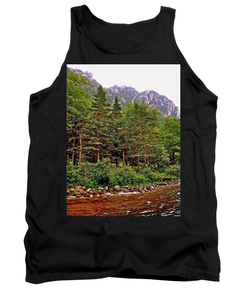 Rocky Shoreline Of Western Brook Pond In Gros Morne Np Tank Top featuring the photograph Rocky Shoreline Of Western Brook Pond In Gros Morne Nl by Ruth Hager