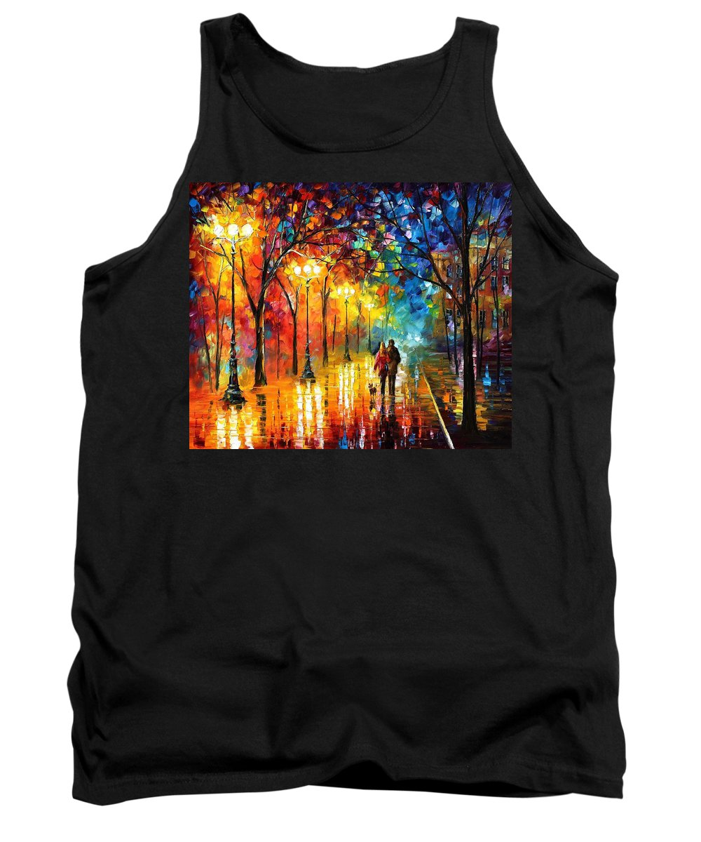 Oil Paintings Tank Top featuring the painting Romantic Stroll - Palette Knlfe Oil Painting On Canvas By Leonid Afremov by Leonid Afremov