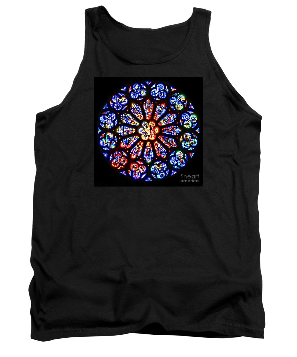 Stained Glass Tank Top featuring the photograph Rose Window Of Grace Cathedral By Diana Sainz by Diana Raquel Sainz