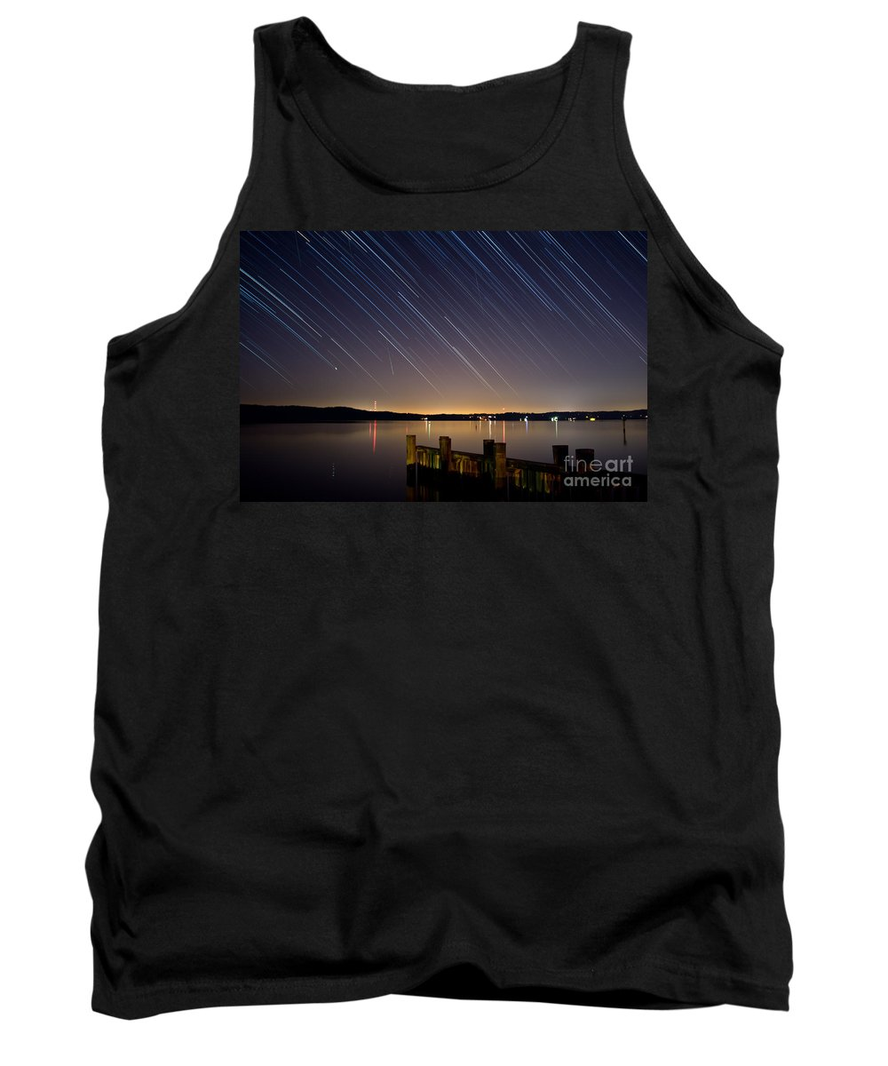 Star Tank Top featuring the photograph Round Bay Startrails And A Meteor Shower by Benjamin Reed