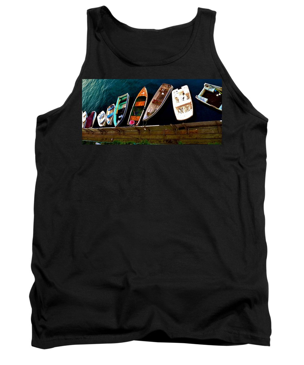 Barbara Snyder Tank Top featuring the digital art Row Of Rowboats by Barbara Snyder