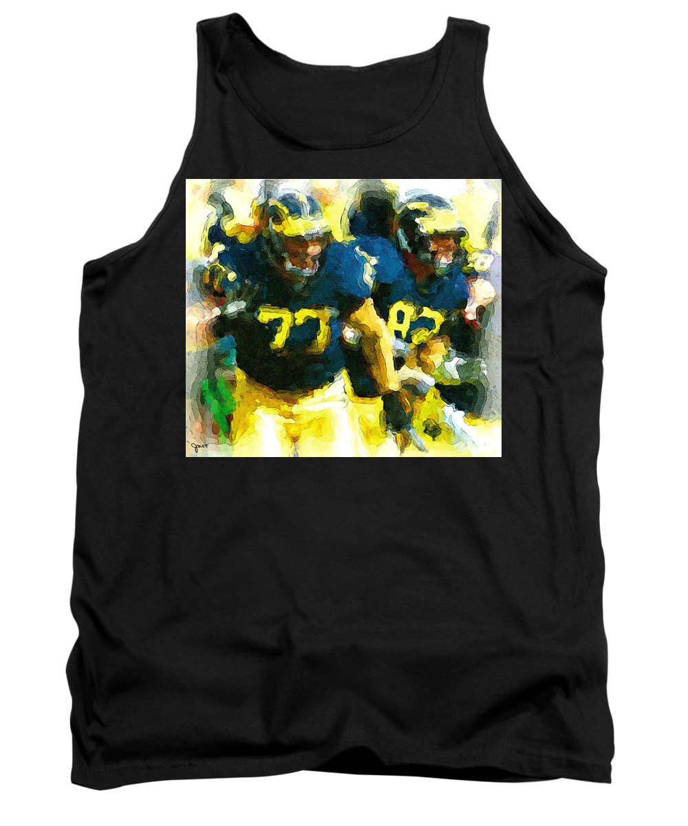 University Of Michigan Tank Top featuring the painting Rumble by John Farr