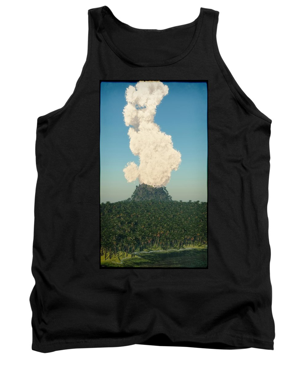 Landscape Seascape Volcano Lava Ash Smoke Clouds Blue Ocean Sea Palm Palm Trees Trees Island Tank Top featuring the digital art Rumble... by Tim Fillingim