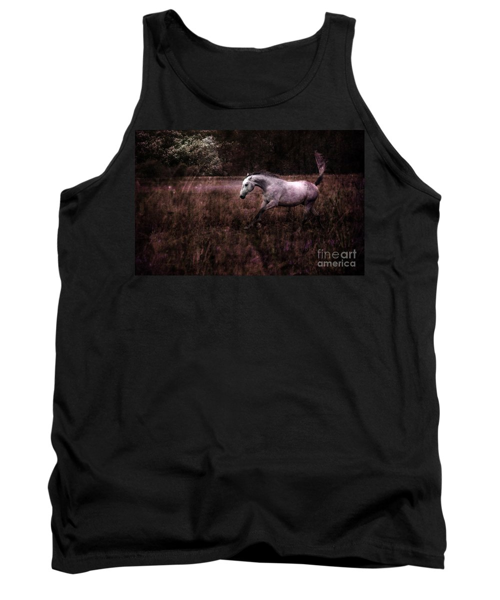 Grey Horse Tank Top featuring the photograph Running Through The Purple World by Angel Ciesniarska