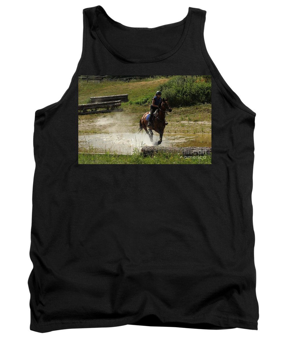 Horse Tank Top featuring the photograph Running Thru Water by Janice Byer
