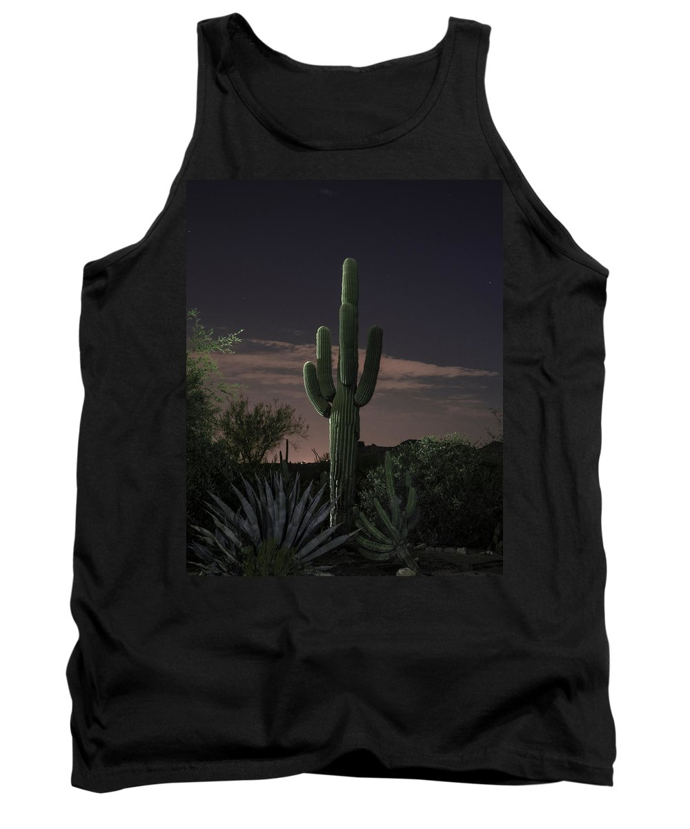 Cactus Tank Top featuring the photograph Saguaro At Sunset by Lorraine Harrington