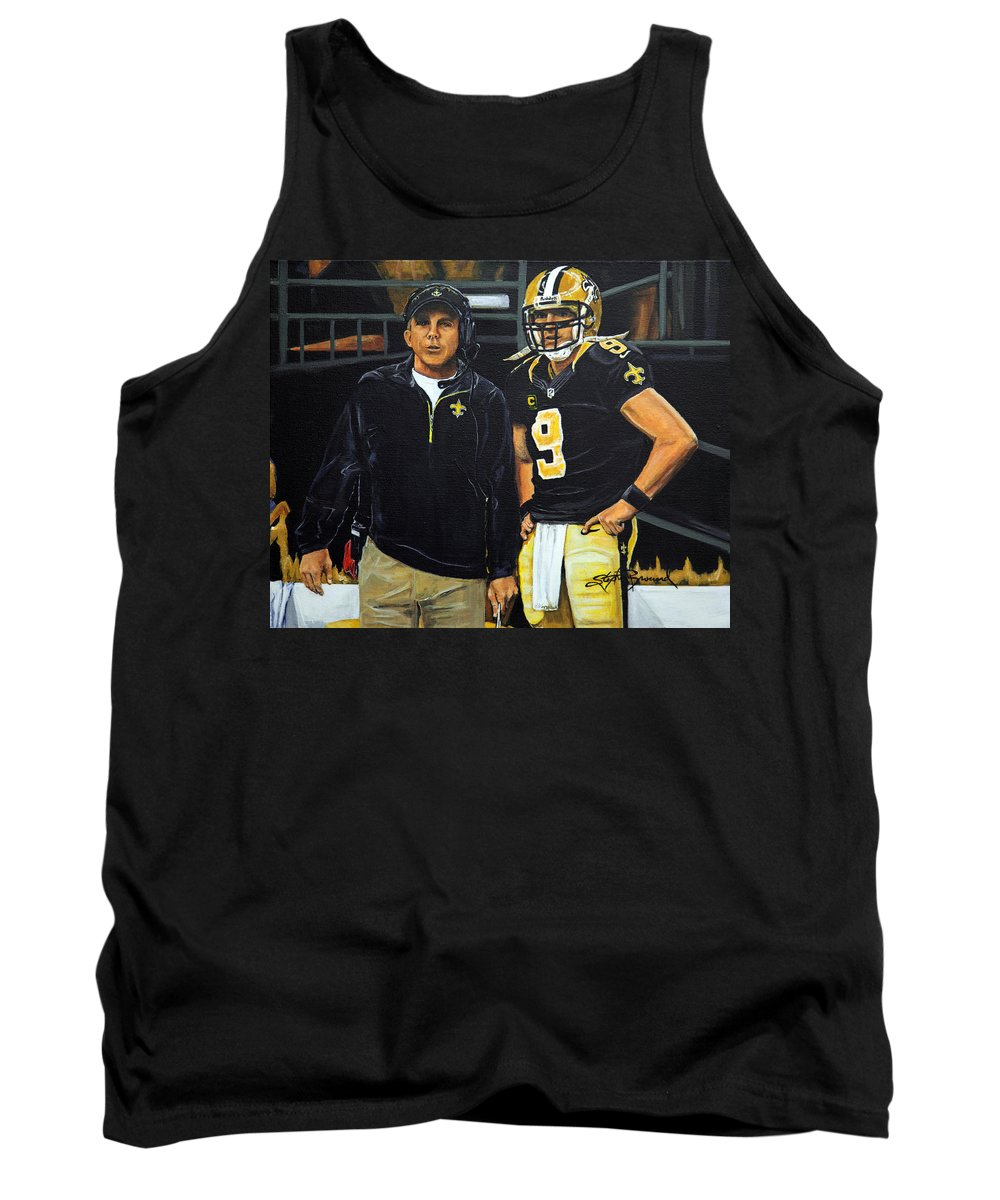 New Orleans Saints Tank Top featuring the painting Saints Dynamic Duo by Stephen Broussard