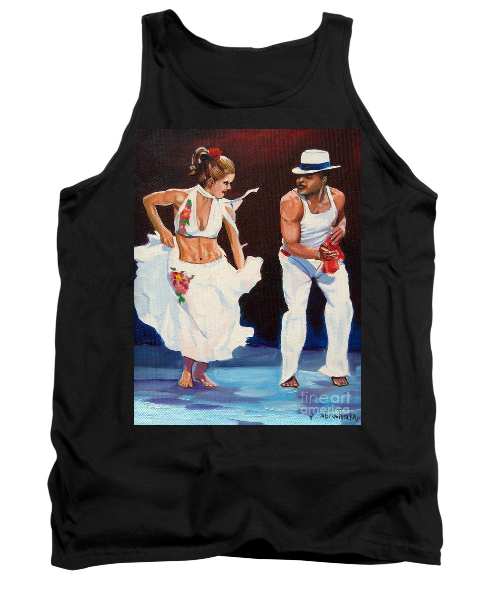 Dancing Tank Top featuring the painting Salsa by Jose Manuel Abraham
