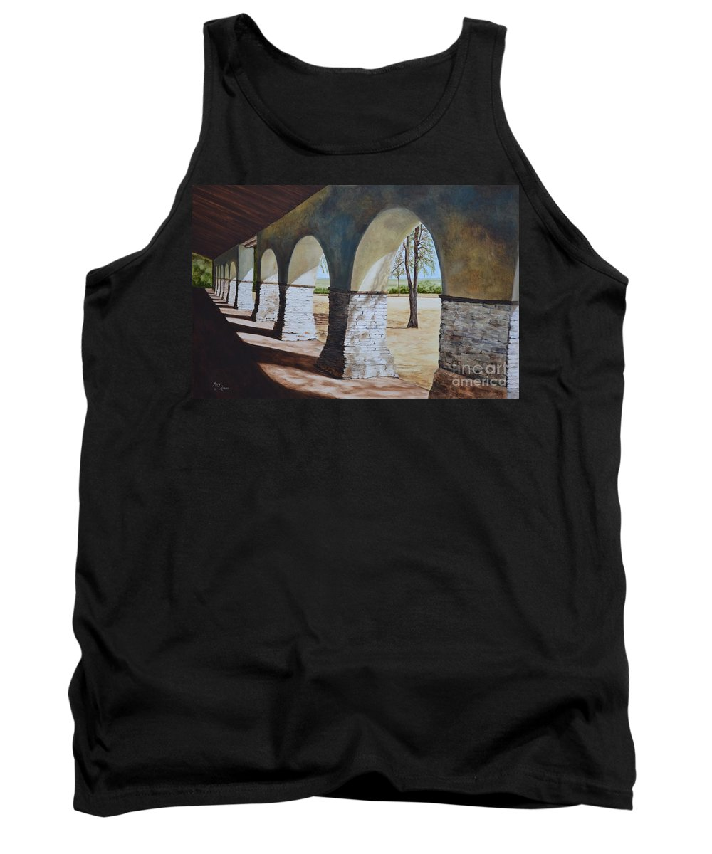 California Landmark Tank Top featuring the painting San Juan Bautista Mission by Mary Rogers