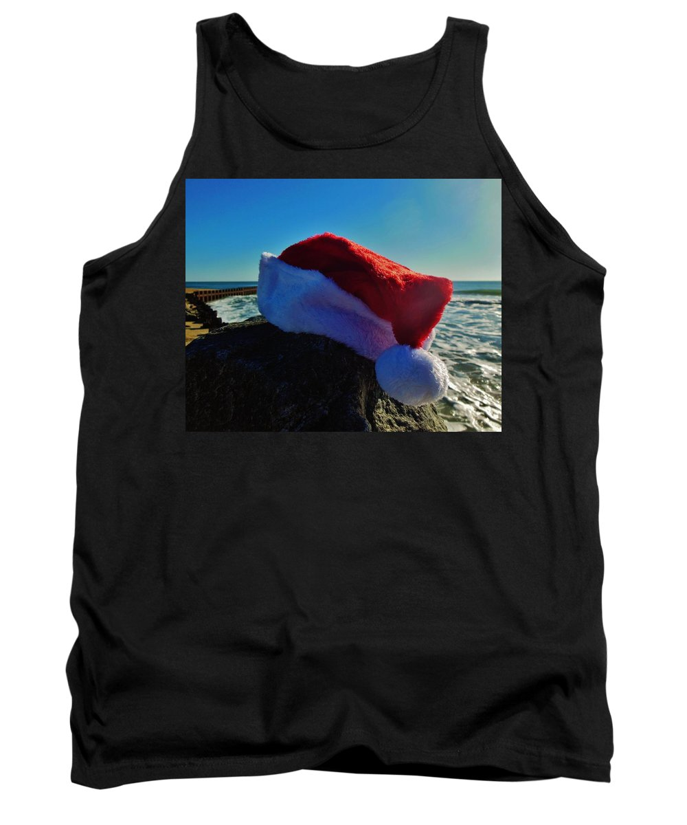 Mark Lemmon Cape Hatteras Nc The Outer Banks Photographer Subjects From Sunrise Tank Top featuring the photograph Santa Hat And Ocean 10 12/19 by Mark Lemmon