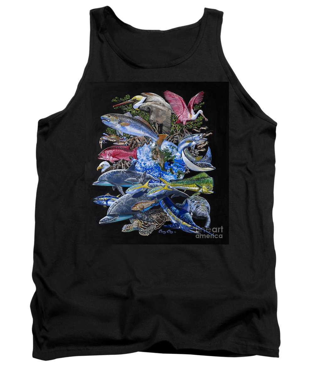 Marine Tank Top featuring the painting Save Our Seas In008 by Carey Chen