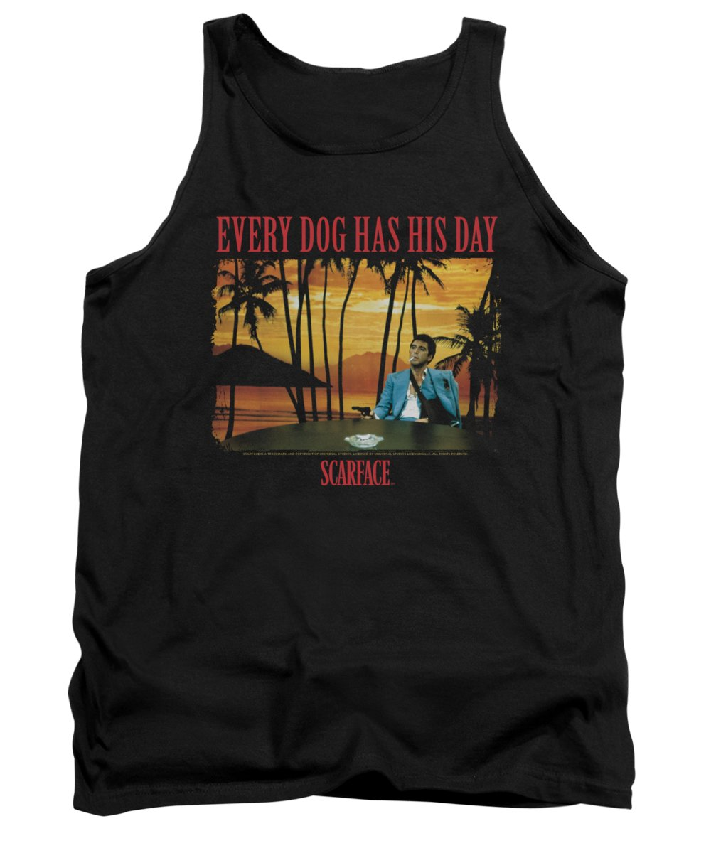 Scareface Tank Top featuring the digital art Scarface - A Dog Day by Brand A