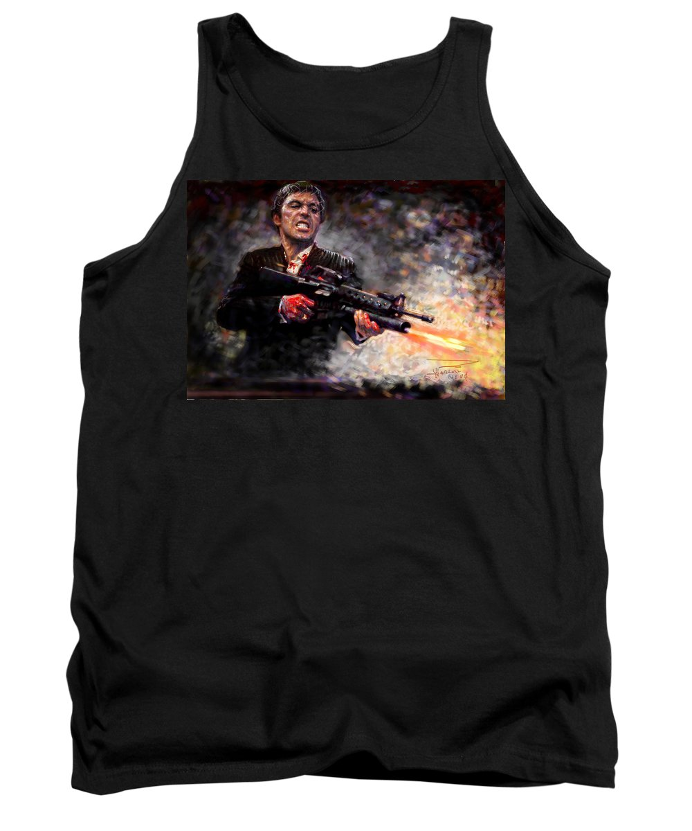 Scarface Tank Top featuring the digital art Scarface by Viola El