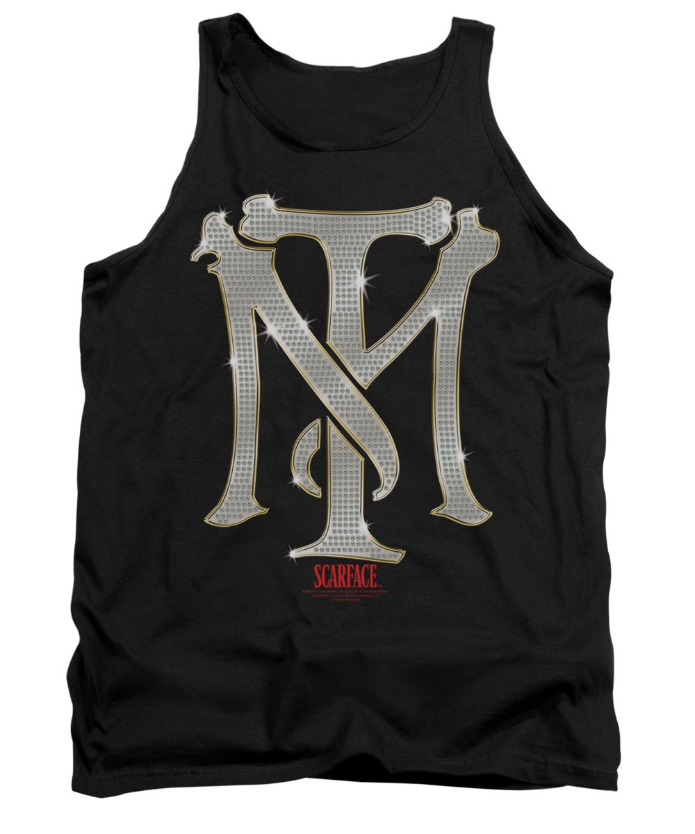 Scareface Tank Top featuring the digital art Scarface - Tm Bling by Brand A