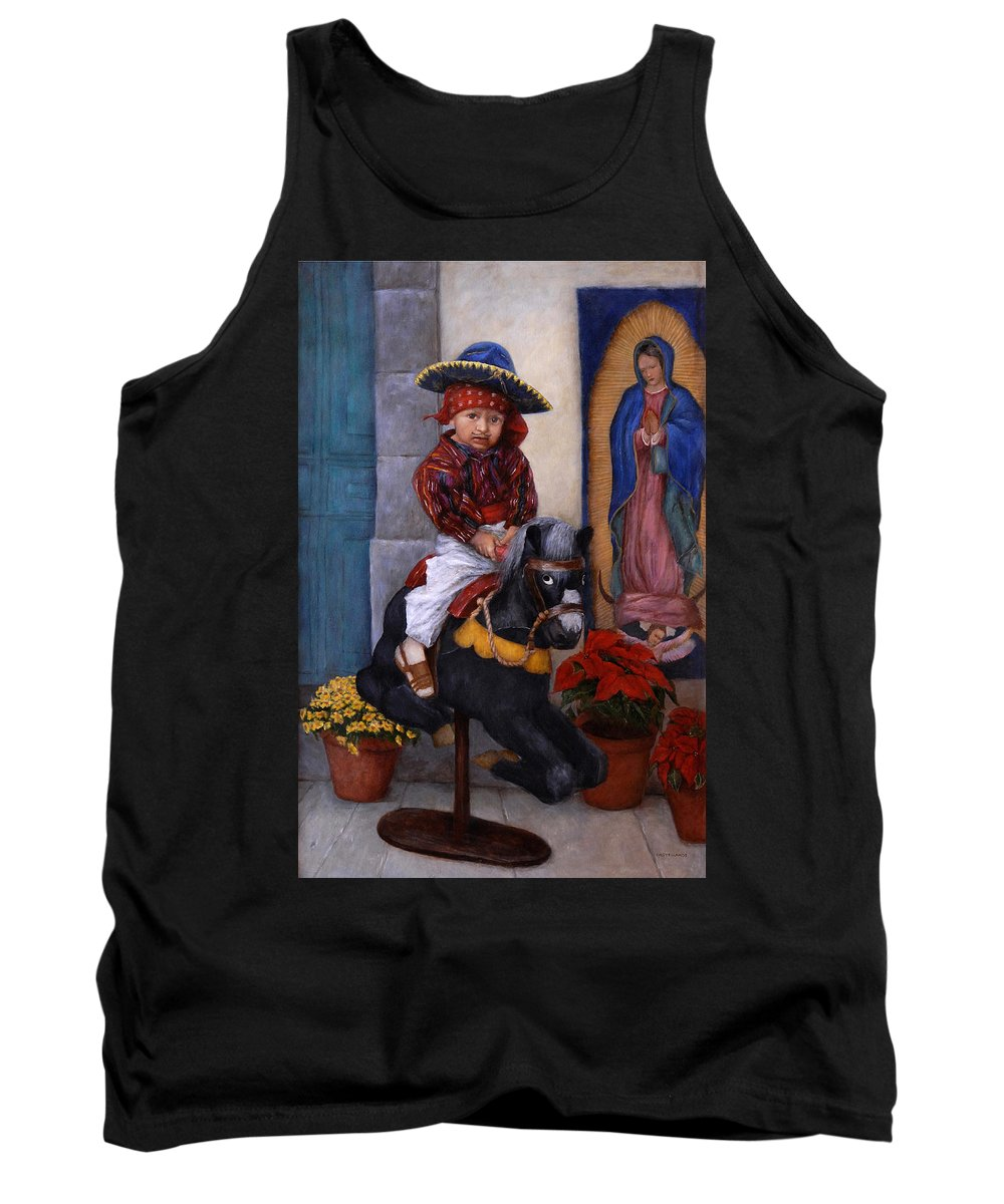 Portrait Tank Top featuring the painting Scary Ride At Guadalupe Festival by Sylvia Castellanos