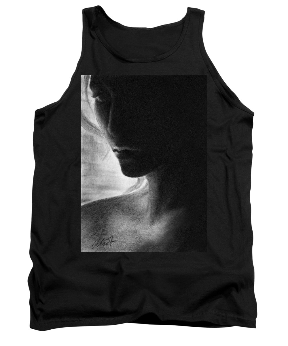 Female Portrait Tank Top featuring the drawing Scinthia by Yelena Shabrova