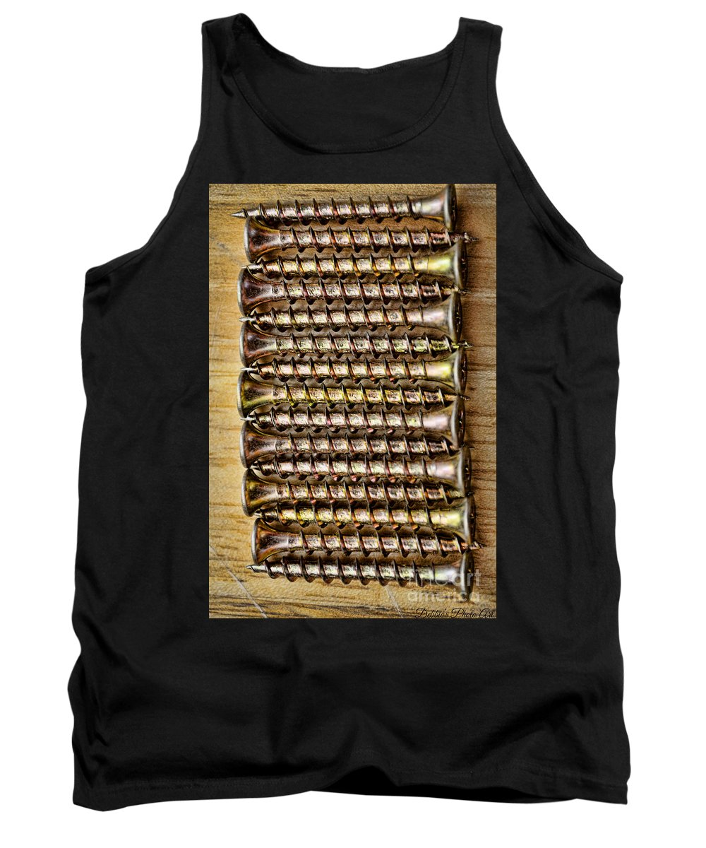 Screw Tank Top featuring the photograph Screws In A Line 1 by Debbie Portwood