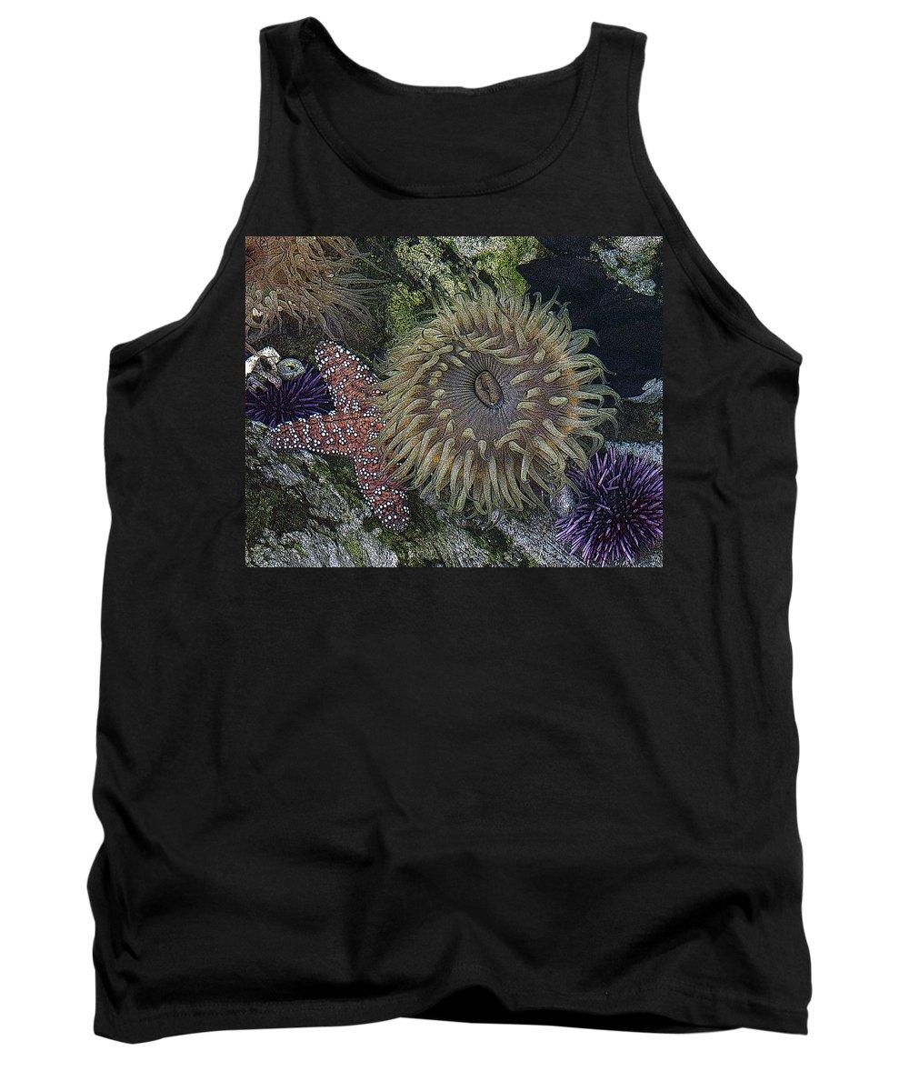 Sea Urchins Tank Top featuring the digital art Sea Life by Ernie Echols