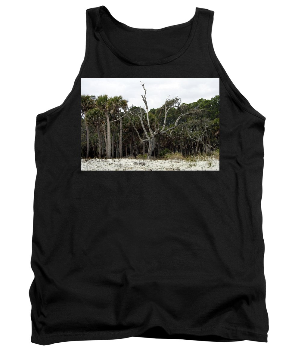 Scenic Tours Tank Top featuring the photograph Sea Washed Oat Tree by Skip Willits
