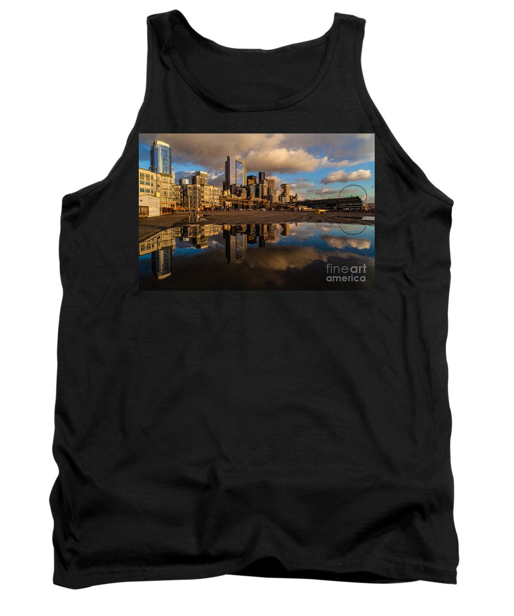 Pier Tank Top featuring the photograph Seattle Pier Sunset Clouds by Mike Reid