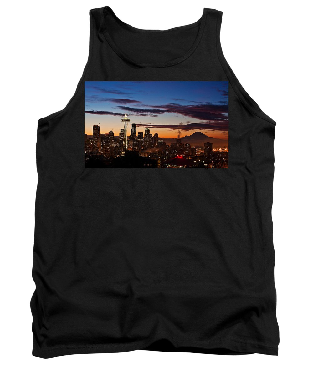 Seattle Tank Top featuring the photograph Seattle Sunrise by Mike Reid