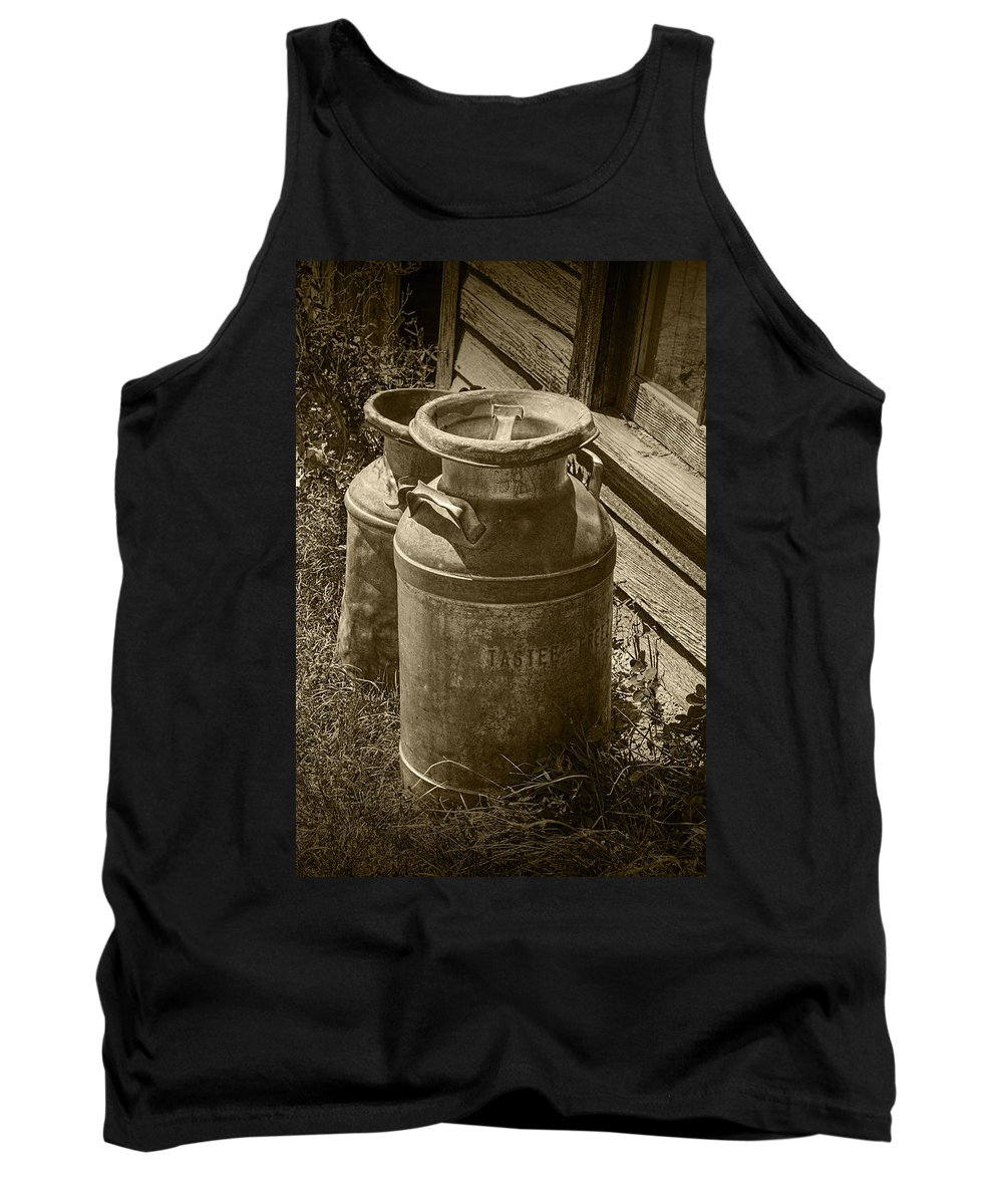 Creamery Can Tank Top featuring the photograph Sepia Photo Of Vintage Creamery Cans At The Old Prairie Homestead Near The Badlands by Randall Nyhof